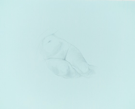 Lower Body Study, 2016, silverpoint on prepared paper, 8.25 x 9.5 inches (sheet size)