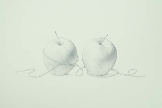 Lunchbox Apples, 2015, silverpoint on prepared paper, 9 1-2 x 15 inches (sheet size)